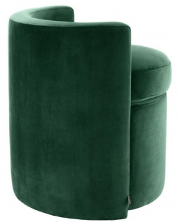 Casa Padrino Designer Sessel Dunkelgrün 61 x 57 x H. 64 cm - Runder Samt Sessel - Luxus Möbel - Vorschau 3