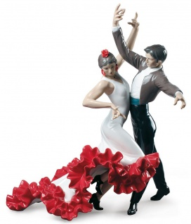 Casa Padrino Luxus Porzellan Skulptur Flamenco Tänzer Mehrfarbig 38 x H. 44 cm - Handgefertigte Luxus Dekoration