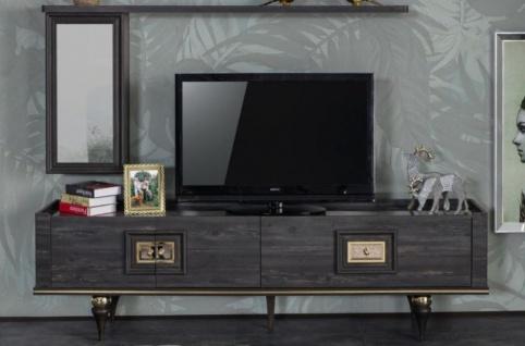 Casa Padrino Luxus Art Deco TV Schrank Grau / Schwarz / Messingfarben 226 x 44 x H. 65 cm - Edler Wohnzimmer Fernsehschrank mit Schublade und 2 Türen - Art Deco Möbel