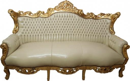 Casa Padrino Barock 3er Sofa Master Creme Lederoptik / Gold mit Bling Bling Glitzersteinen - Antik Stil Möbel