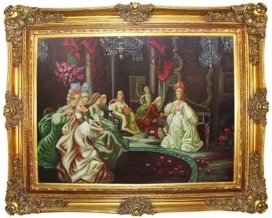 Casa Padrino Barock Ölgemälde Klassisches Konzert 2 Mehrfarbig / Gold 160 x 10 x H. 130 cm - Handgemaltes Gemälde mit prunkvollem Rahmen im Barockstil - Barock Möbel