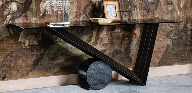 Casa Padrino Designer Konsole Dunkelbraun / Schwarz - Verschiedene Tischgrößen - Konsolentisch mit Glasplatte - Moderne Wohnzimmer Möbel - Luxus Kollektion