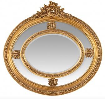 Casa Padrino Luxus Barock Wandspiegel Oval Gold 120 cm - Massiv und Schwer - Goldener Spiegel