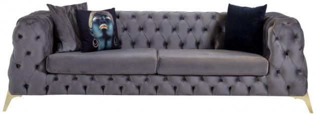 Casa Padrino Luxus Chesterfield Samt Sofa Grau / Messing 240 x 95 x H. 81 cm - Modernes Wohnzimmer Sofa - Chesterfield Möbel