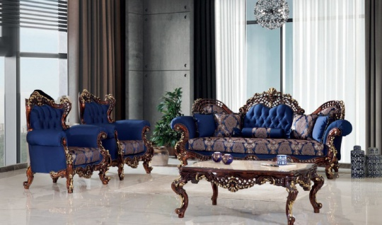 Casa Padrino Luxus Barock Wohnzimmer Set Blau / Dunkelbraun / Gold - 2 Sofas & 2 Sessel & 1 Couchtisch - Handgefertigte Wohnzimmer Möbel im Barockstil - Edel & Prunkvoll