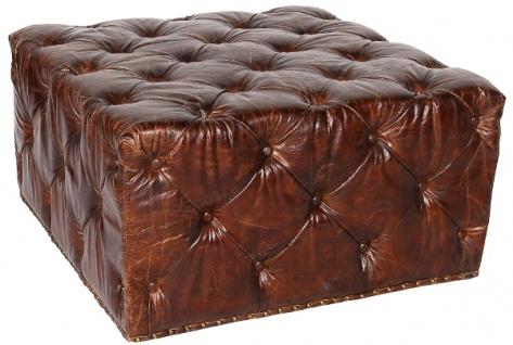 Casa Padrino Chesterfield Echtleder Fußhocker Dunkelbraun 80 x 80 x H. 42 cm - Luxus Qualität