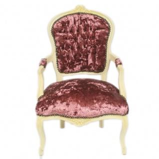 Casa Padrino Barock Antik Stil Salon Stuhl Bordeaux Velour Stoff / Creme 60 x 50 x H. 93 cm - Antik Design Möbel - Vorschau 2