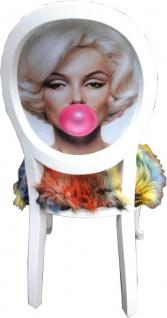 Casa Padrino Luxus Barock Esszimmer Set Marilyn Monroe Bubble Gum Crazy Mehrfarbig / Weiß 50 x 60 x H. 104 cm - 6 handgefertigte Esszimmerstühle mit Kunstfell und Bling Bling Glitzersteinen - Vorschau 3