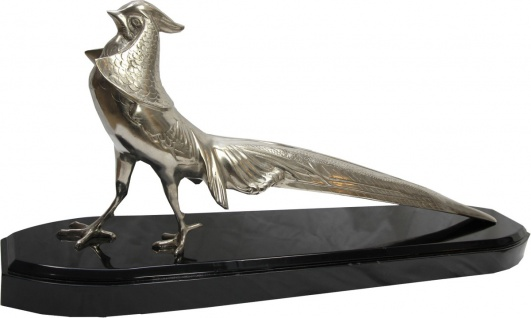Casa Padrino Luxus Fasan Skulptur Bronze vernickelt auf Holzsockel - Figur Vogel - Edel & Prunkvoll