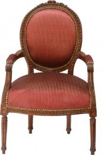 Barock Salon Stuhl Bordeaux/ Gold Streifen / Braun