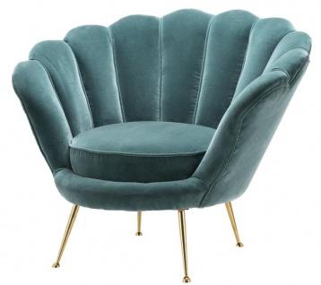 Casa Padrino Designer Wohnzimmer Sessel Dunkeltürkis / Messingfarben 96, 5 x 79 x H. 78 cm - Luxus Wohnzimmermöbel