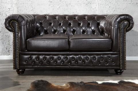 Casa Padrino Chesterfield Wohnzimmer Sofa 150 x 85 x H. 75 cm - Kunstleder 2er Couch - Chesterfield Möbel