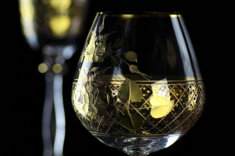 Casa Padrino Luxus Barock Brandy Glas 6er Set Gold Ø 9 x H. 14, 5 cm - Handgefertigte und handgravierte Cognacgläser - Hotel & Restaurant Accessoires - Luxus Qualität - Vorschau 5