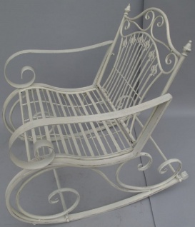 Casa Padrino Jugendstil Metall Schaukelstuhl rustikal Weiß 65 x 90 x H. 90 cm - Nostalgische Garten & Terrassen Möbel