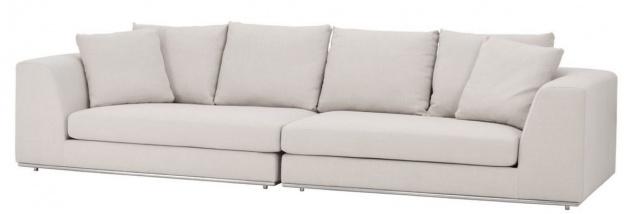 Casa Padrino Luxus Sofa mit 6 Kissen Naturfarben / Silber 317 x 112 x H. 84 cm - Luxus Wohnzimmer Möbel