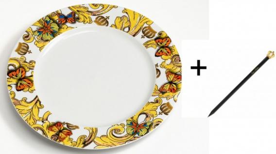 Harald Glööckler Porzellan Teller 27, 5 cm + Luxus Bleistift Casa Padrino - Barock Dekoration