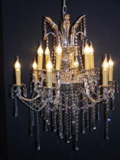 Casa Padrino Barock Kristall Kronleuchter 12-Flammig Silber ModK2 - Hängeleuchte Lüster Hängelampe Deckenlampe