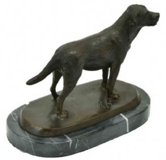 Casa Padrino Luxus Bronze Skulptur Hund Labrador Bronze / Schwarz 23 x 13 x H. 17 cm - Deko Bronzefigur mit Marmorsockel - Vorschau 4
