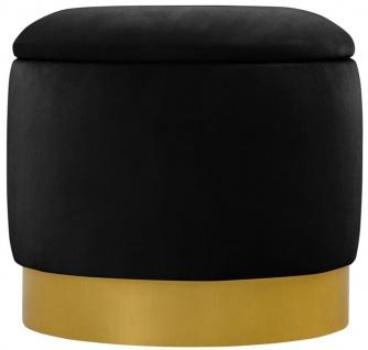 Casa Padrino Luxus Samt Sitzhocker Ø 40 x H. 37 cm - Verschiedene Farben - Runder Hocker mit Stauraum - Luxus Qualität