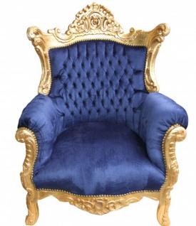Casa Padrino Barock Sessel Al Capone Royalblau Gold Antik Stil