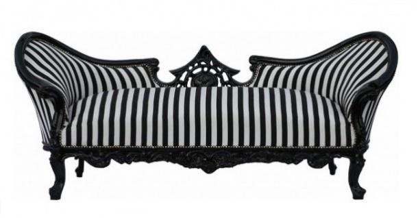 Casa Padrino Barock Sofa Garnitur Vampire Schwarz / Weiß Streifen / Schwarz