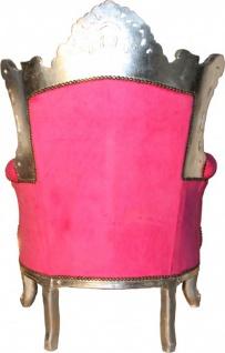 Casa Padrino Antik Stil Wohnzimmer Sessel Al Capone Pink / Silber 80 x 90 x H. 128 cm - Barock Möbel - Vorschau 2