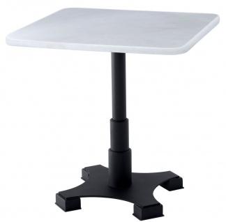 Casa Padrino Luxus Esstisch Weiß / Schwarz 75 x 75 x H. 75 cm - Küchentisch mit quadratischer Marmorplatte - Esszimmer Möbel