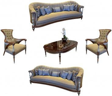 Casa Padrino Luxus Barock Wohnzimmer Set Grau / Braun / Silber - 2 Sofas & 2 Sessel & 1 Couchtisch - Handgefertigte Barock Wohnzimmer Möbel - Edel & Prunkvoll