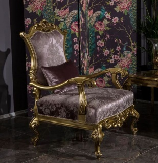 Casa Padrino Luxus Barock Wohnzimmer Sessel mit dekorativem Kissen Fliederfarben / Gold 79 x 73 x H. 110 cm - Prunkvolle Barock Möbel