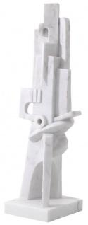 Casa Padrino Designer Marmor Skulptur Weiß 26 x 24 x H. 91 cm - Edle Dekofigur - Marmorfigur - Wohnzimmer Deko Accessoires