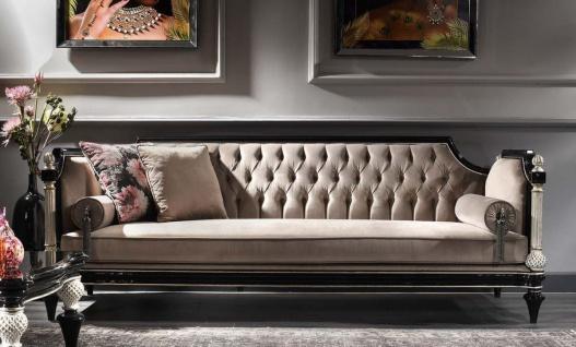 Casa Padrino Luxus Barock Samt Sofa Beige / Schwarz / Silber / Antik Gold 250 x 95 x H. 80 cm - Prunkvolles Wohnzimmer Sofa im Barockstil