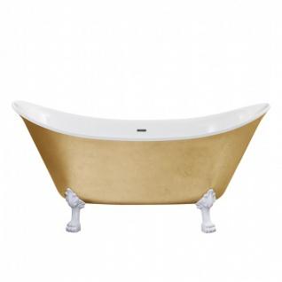 Casa Padrino Jugendstil Badewanne freistehend Gold Modell He-Lyd 1730mm - Freistehende Retro Antik Badewanne Barock Stil