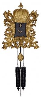 Pompöös Schwarzwälder Kuckucksuhr mit Krone Gold / Schwarz 55 x H. 68 cm - Handgeschnitzte Wanduhr im Rokoko Stil - designed by Harald Glööckler