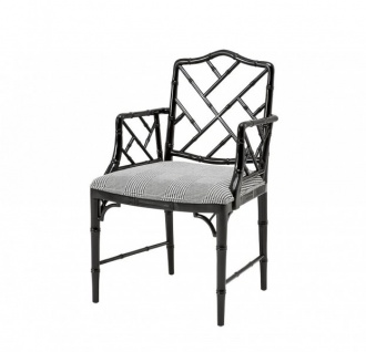 Casa Padrino Luxus Mahagoni Esszimmer Stuhl mit Armlehne Schwarz - Limited Edition