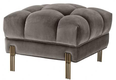 Casa Padrino Luxus Fußhocker Grau / Messingfarben 59 x 59 x H. 43 cm - Samt Hocker mit Edelstahl Beinen - Wohnzimmer Möbel