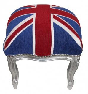 Casa Padrino Barock Fußhocker Union Jack / Silber - Hocker Englische Flagge- Antik Stil England - Vorschau 2