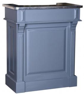 Casa Padrino Landhausstil Theke Blau / Silber 90 x 51 x H. 107 cm - Massivholz Thekentisch mit verzinkter Tischplatte