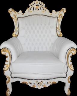 Casa Padrino Antik Stil Wohnzimmer Sessel Al Capone Mod2 Weiß / Gold - Barock Möbel