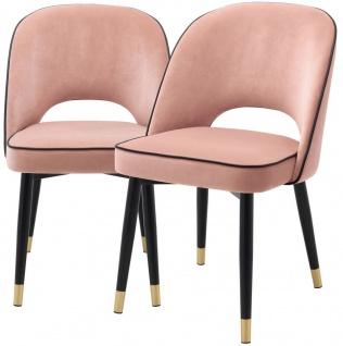 Casa Padrino Luxus Esszimmerstuhl Set Rosa / Schwarz / Messing 53 x 56 x H. 84 cm - Esszimmerstühle mit edlem Samtstoff - Esszimmer Möbel