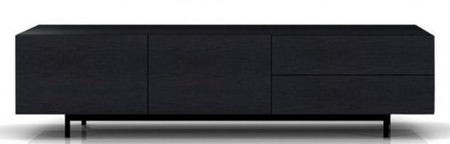 Casa Padrino Luxus Fernsehschrank mit 2 Türen und 2 Schubladen Schwarz 180 x 50 x H. 46 cm - Massiver Eichenholz Schrank - Luxus Möbel - Vorschau 2