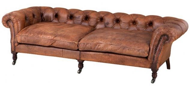 Casa Padrino Luxus Echt Leder Sofa Vintage Leder Tobacco Braun - 3 Sitzer - Luxus Hotel Club Möbel