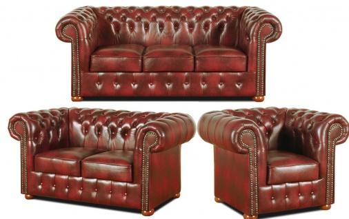 Casa Padrino Chesterfield Wohnzimmer 3er Set Weinrot - Luxus Echtleder Möbel - Vorschau 1