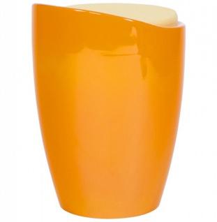 Casa Padrino Designer Hocker Orange mit Sitzpolster und Stauraum unter dem Sitz - Vorschau 4