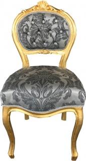 Casa Padrino Barock Damen Stuhl Grau Muster / Gold mit Bling Bling Glitzersteinen - Schminktisch Stuhl