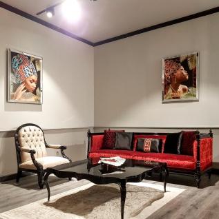 Casa Padrino Luxus Barock Sofa Rot / Schwarz - Handgefertigtes Wohnzimmer Sofa im Barockstil - Edle Barock Wohnzimmer Möbel - Vorschau 2