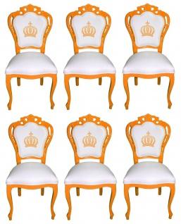 Pompöös by Casa Padrino Luxus Barock Esszimmerstühle Weiß / Orange - Pompööse Barock Stühle designed by Harald Glööckler - 6 Esszimmerstühle - Barock Esszimmermöbel
