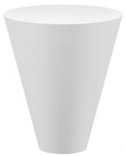 Casa Padrino Luxus Gartentisch Matt Weiß Ø 51 x H. 60 cm - Runder Wetterbeständiger Beistelltisch - Garten Terrassen Tisch Möbel - Luxus Kollektion