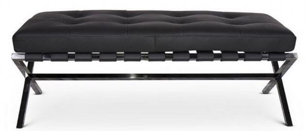 Casa Padrino Luxus Sitzbank Schwarz / Schwarz 120 x 45 x H. 40 cm - Edelstahl Bank mit Italienischem Leder - Gepäckablage - Hotel Möbel & Accessoires