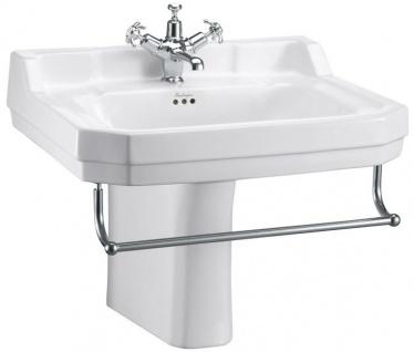 Casa Padrino Porzellan Waschbecken mit halben Sockel und Handtuchhalter 61 x 51 x H. 56 cm