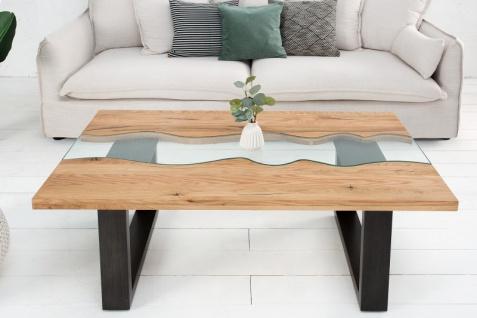 Casa Padrino Designer Massivholz Wildeiche Couchtisch mit Sicherheitsglas Natur 115cm x H. 45cm - Salon Wohnzimmer Tisch - Vorschau 3